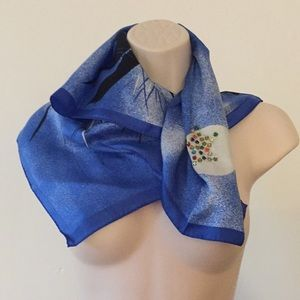 Accessories - Vintage 80s Silk Scarf  Embellishment gems